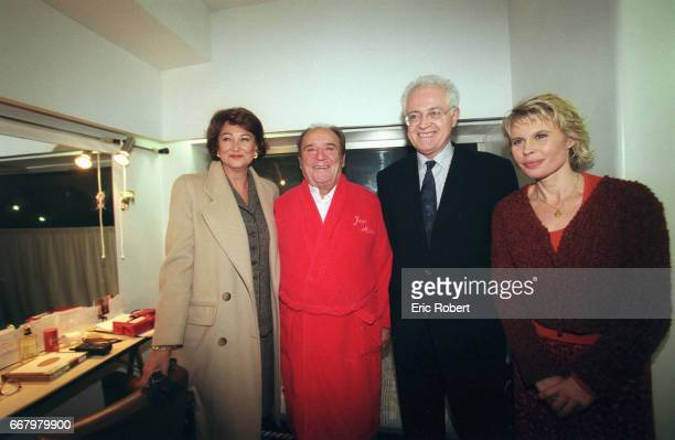 From left are Sylviane Agacinski wife of French Prime Minister Lionel Jospin JeanMarc Thibault Lionel Jospin and Candice Patou backstage at the Paris...