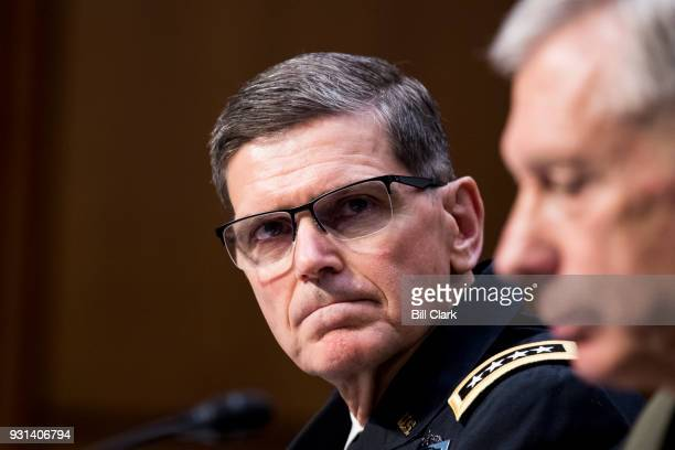 From left Army Gen Joseph Votel commander of the United States Central Command and Marine Corps Gen Thomas Waldhauser commander of the United States...