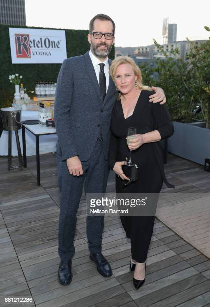 From left artist Eric White and actor Patricia Arquette attend a celebration for the Alexis Arquette Family Foundation during an intimate dinner...
