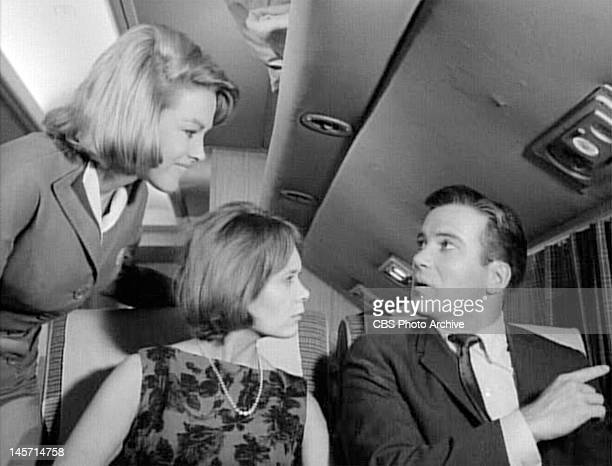 From left, Asa Maynor as stewardess, Christine White as Julia Wilson and William Shatner as airline passenger Bob Wilson in an episode of THE...