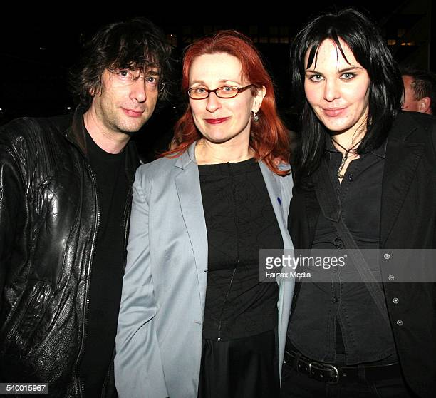 From left authors Neil Gaiman Audrey Niffenegger and Hayley Campbell at the Sydney Writers' Festival party at Walsh Bay Sydney 24 May 2006 SHD...