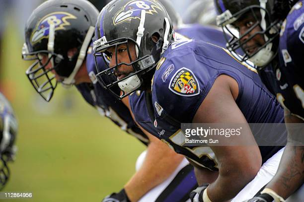 From left, Baltimore Ravens center Matt Birk, guard/center Chris Chester and offensive tackle Oniel Cousins during preseason practice at McDaniel...