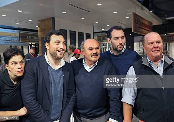From left Barbara Lynch Nicol Farinetti Oscar Farinetti Alex and Saper and Mario Batali stand together at the preopening press preview at Eataly in...