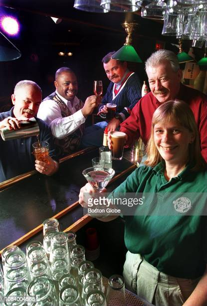 From left bartenders Eddie Doyle of Bull and Finch Martin Berry of 8 Holyoke Tom Leonard of Eliot Lounge Jim Lockers Loughlin of Paddy Burke's and...