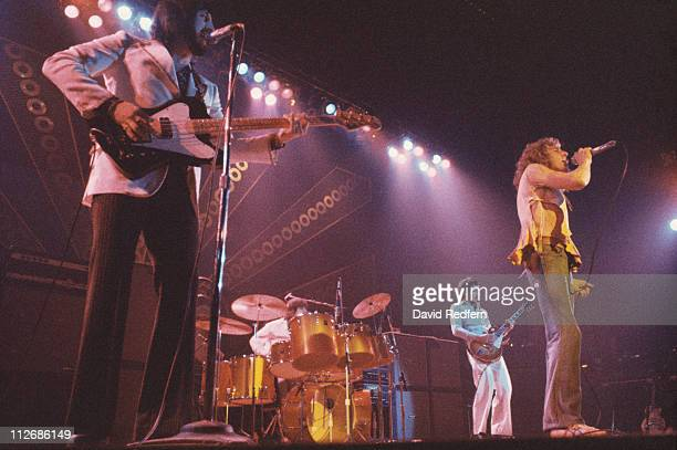 The Who bassist John Entwistle drummer Keith Moon guitarist Pete Townshend and singer Roger Daltrey on stage during a live concert performance at the...