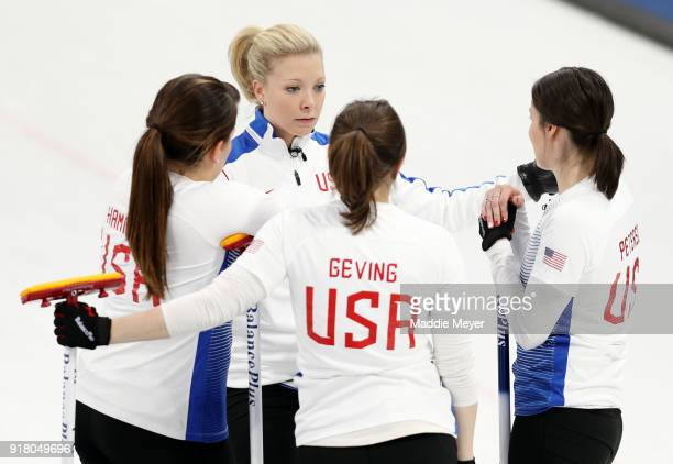 From left Becca Hamilton Nina Roth Aileen Geving and Tabitha Peterson of the United States of America talk during their game against Japan in the...