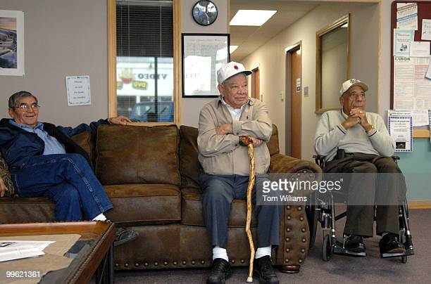From left Benito Via Evy Gallegos and Alfredo Flores wait for the arrival of Rep Steve Pearce RNM at Luna Community College for a meeting of local...