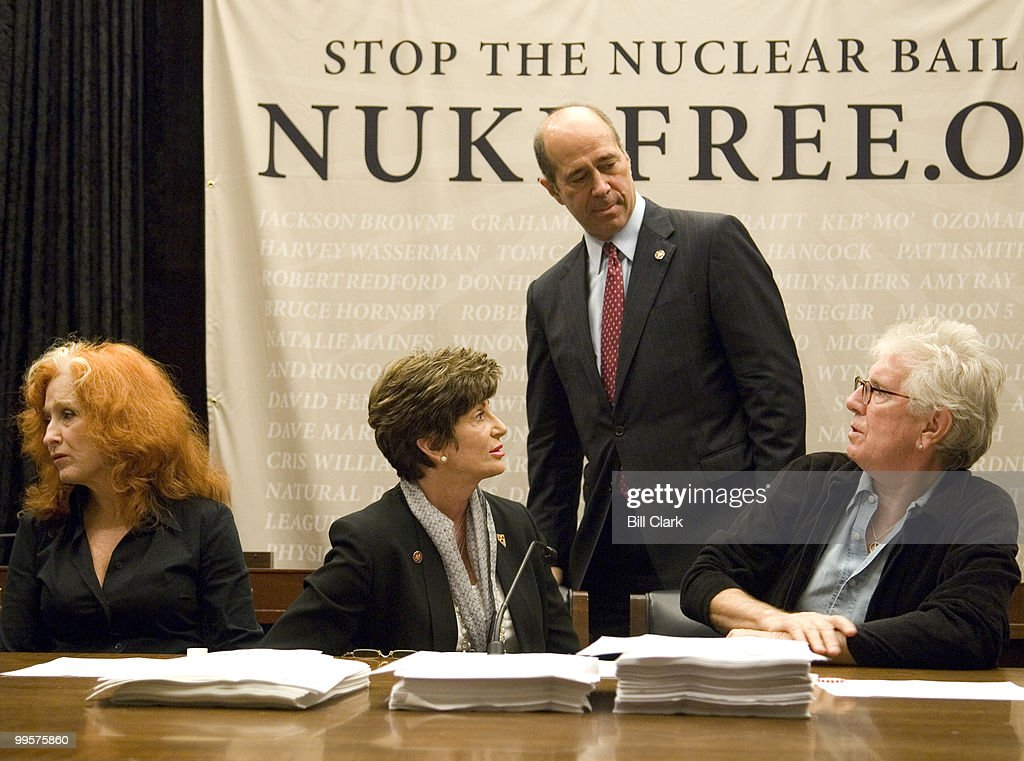 From left, Bonnie Raitt, Rep. Shelley Berkley, D-Nev., Rep. John Hall, D-N.Y., and Graham Nash participate in a news conference on nuclear energy on Tuesday, Oct. 23, 2007. The event was held to discuss the 'Nuke Free' campaign in support of provisions of the pending Energy Bill dealing with renewable energy, efficiency, fuel economy, and in opposition to the provision that would give subsidies for building of nuclear power plants.