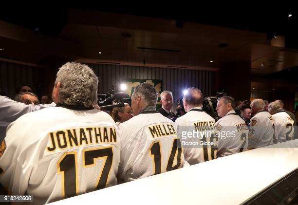 From left Boston Bruins 197778 alumni Stan Jonathan Bob Miller Rick Middleton Don Marcotte Jean Ratelle and Brad Park are pictured at the Putnam Club...