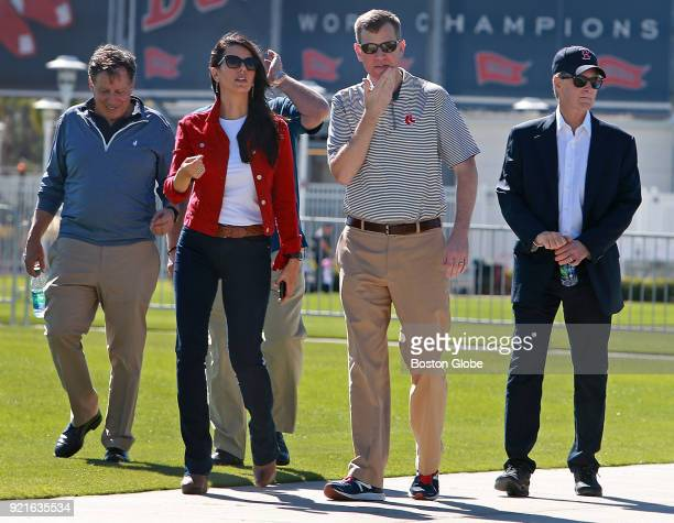 From left Boston Red Sox executives Tom Werner Linda Pizzuti Henry Sam Kennedy and John Henry walk to the playing fields to observe on the day of the...