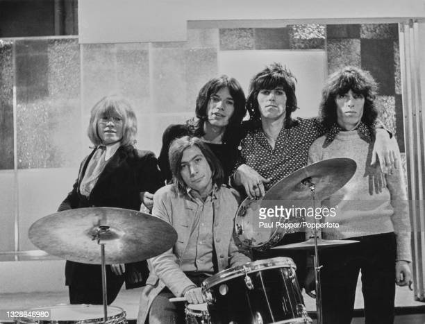 From left, Brian Jones, Charlie Watts, Mick Jagger, Keith Richards and Bill Wyman of English rock group The Rolling Stones posed together during...