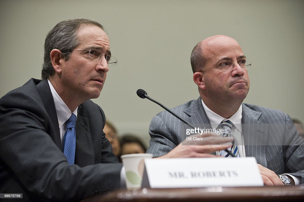 From left, Brian Roberts, chairman and CEO of the Comcast Corporation, and Jeff Zucker, president and CEO of NBC Universal, testify during the House Judiciary Committee hearing on the proposed Comcast and NBC Universal merger on Thursday, Feb. 25, 2010.