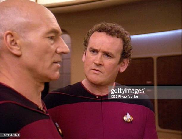 From left, British actor Patrick Stewart and Irish actor Colm Meaney in a scene from the final episode of the television series 'Star Trak: The Next...