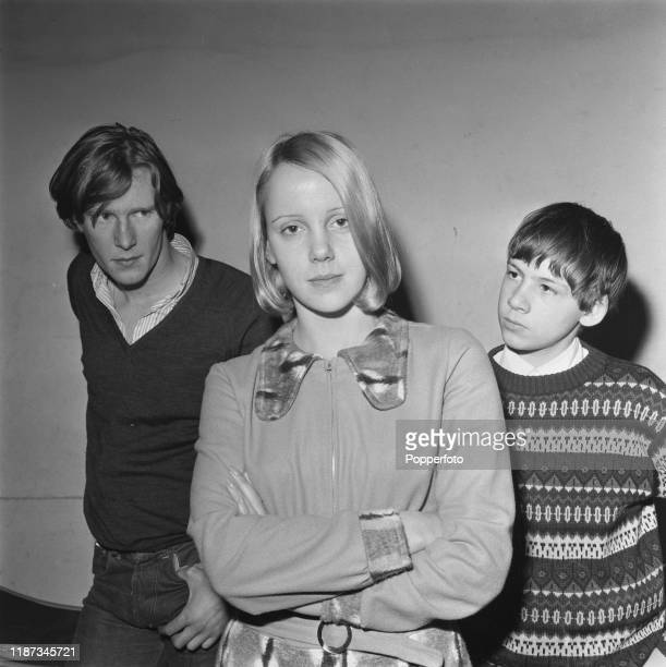 From left British actors Dennis Waterman Georgina Hale and Edward McMurray posed together during filming of the Drama '67 episode 'Cross My Heart and...