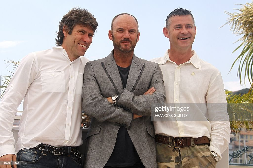 British actors John Bishop, Mark Womack and Trevor Williams pose during the photocall 'Route Irish' presented in competition at the 63rd Cannes Film Festival on May 21, 2010 in Cannes.