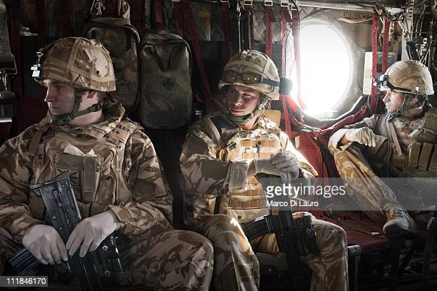 From Left, British Army soldier L/CPL Adams Stu, 25-years-old from the RAF 34 SQN at Leeming member of the Immediate Response Team , CPL Sean Ivey...