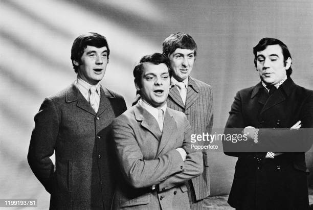 From left, British comedians Michael Palin, David Jason, Eric Idle and Terry Jones perform a sketch on the Associated-Rediffusion television series...