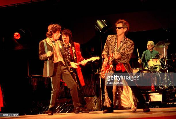 From left British musicians Mick Jagger Ron Wood Keith Richards and Charlie Watts of the Rolling Stones perform on stage during the band's 'Bridges...