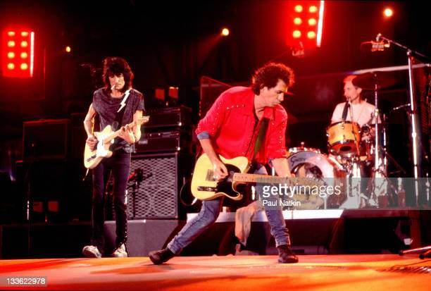 From left British musicians Ron Wood Keith Richards and Charlie Watts of the Rolling Stones perform on stage during the band's 'Voodoo Lounge' tour...