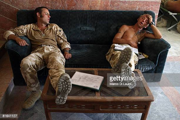 From left British paratroopers from 3rd Battalion The Parachute Regiment C/Sgt David Davies 37yearsold from Heywards Heath and CSM Steve Tidmarsh...