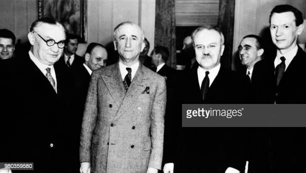 From left British Secretary of States for Foreign Affairs Ernest Bevin US secretary of States James F Byrnes Soviet Foreign Affairs minister...