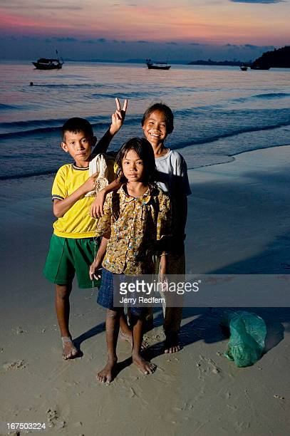 From left brother and sisters Chok Mahp and Mau work on Sihanoukville beaches collecting plastic bottles which they later sell to a recycler Their...