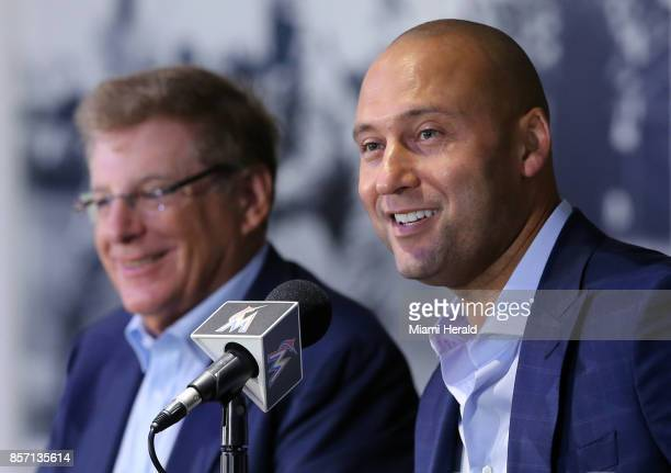 From left Bruce Sherman and Derek Jeter hold their first press conference as Miami Marlins owners on Tuesday Oct 3 2017