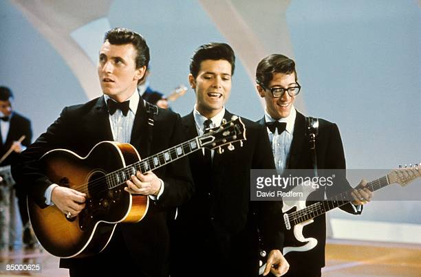 From left, Bruce Welch, Cliff Richard and Hank Marvin of Cliff Richard And The Shadows perform together on the pop music television show Thank Your...