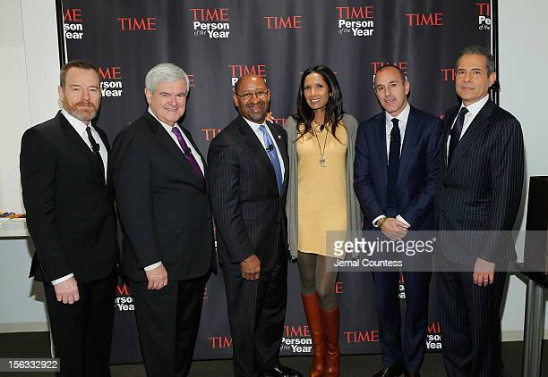 From left Bryan Cranston Newt Gingrich Richard Parsons Padma Lakshmi Matt Lauer and Rick Stengel attend TIME's Person of the Year panel on November...