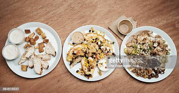 From left Caesar Salad With Chicken from the Cheesecake Factory Quesadilla Explosion Salad from Chilis Grill Bar and Waldorf Salad from California...
