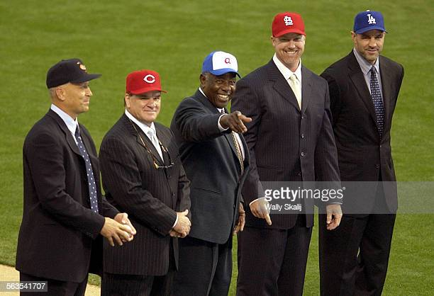 From left Cal Ripken Jr Pete Rose Hank Aaron Mark McGuire and Kirk Gibson were all part of the 10 greatest moments in baseball during a pre–game...