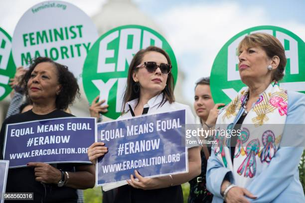From left Carol Jenkins of the Equal Rights Amendment Task Force actress Alyssa Milano and Rep Jackie Speier DCalif attend a news conference at the...
