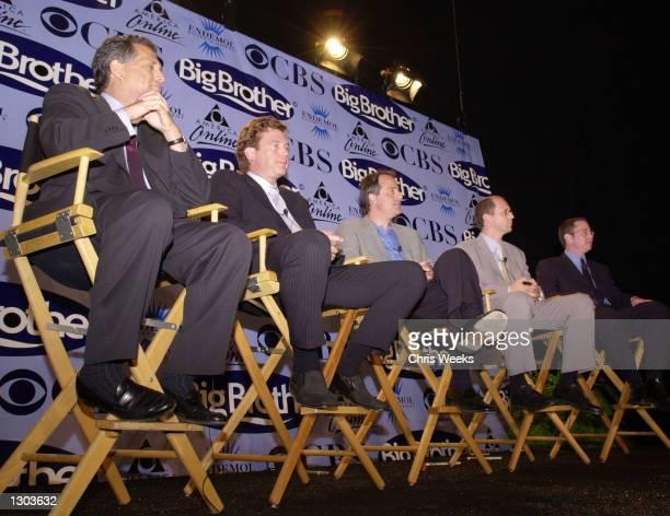 From left CBS President and CEO Leslie Moonves Edemol Entertainment''s Chairman John De Mol AOL''s Senior Vice President of Brand Marketing Joe...
