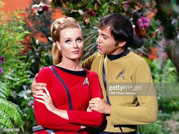From left Celeste Yarnall as Yeoman Martha Landon and Walter Koenig as Chekov in the STAR TREK episode 'The Apple' Original airdate October 13 season...