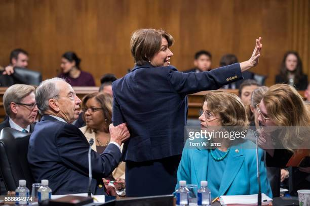 From left Chairman Charles Grassley RIowa Amy Klobuchar DMinn and Dianne Feinstein DCalif ranking member are seen during a Senate Judiciary Committee...