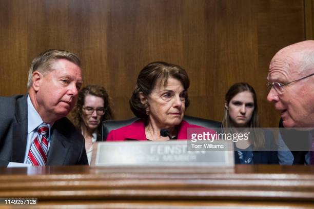 From left Chairman Lindsey Graham RSC ranking member Sen Dianne Feinstein DCalif and Sen Patrick Leahy DVt conduct a Senate Judiciary Committee...