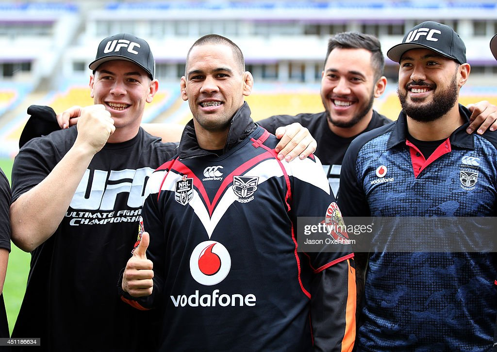 From left - Charles Gubb of the Warriors, UFC Fighter James Te Huna, Nathaniel Peteru of the Warriors and Feleti Mateo of the Warriors pose before a New Zealand Warriors NRL training session at Mt Smart Stadium on June 25, 2014 in Auckland, New Zealand.