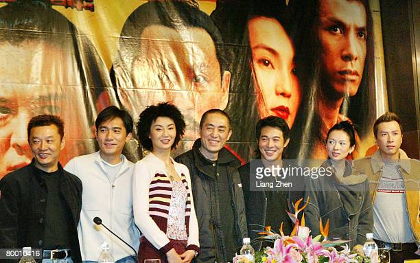 From Left Cheng Xiaodong Tony Leung Maggie Cheung Man Yuk Zhang Yimou Jet Li Zhang Ziyi Donnie Yen