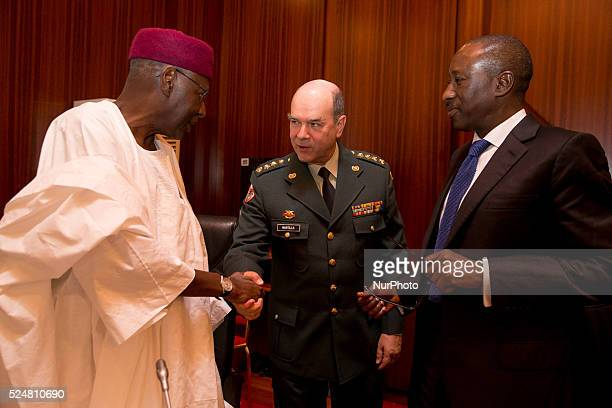 Chief of Staff Abba Kyari Gen Sergio Mantilla and National Security Adviser Babagana Monguno discussing ahead President Muhammadu Buhari's Audience...