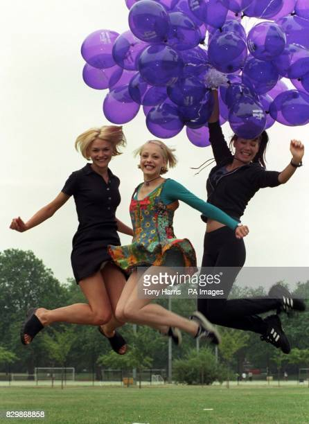 Children's TV presenters Emma Lee and Sarah Cawood and Dutch supermodel Bear van Beers warm up in Battersea Park before today's Strollerthon '96 in...