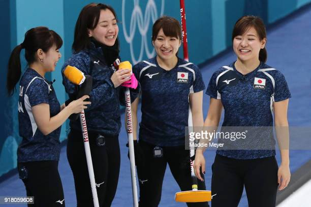 From left Chinami Yoshida Satsuki Fujisawa Yumi Suzuki and Yurika Yoshida of Japan celebrate during their Women's Round Robin Session 1 on day five...