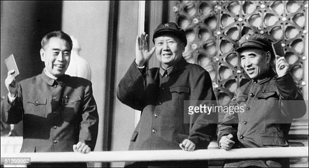 From left Chinese top communist leaders Zhu Enlai Prime Minister of the People's Republic of China from its inception in 1979 until his death Mao...