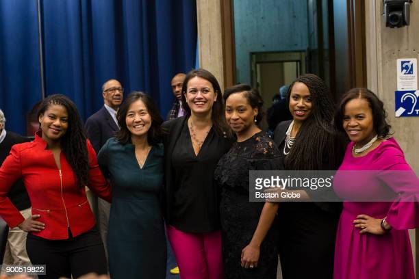 From left City Councilor Lydia Edwards City Councilor Michelle Wu City Councilor Annissa EssaibiGeorge Boston City Council President Andrea Campbell...