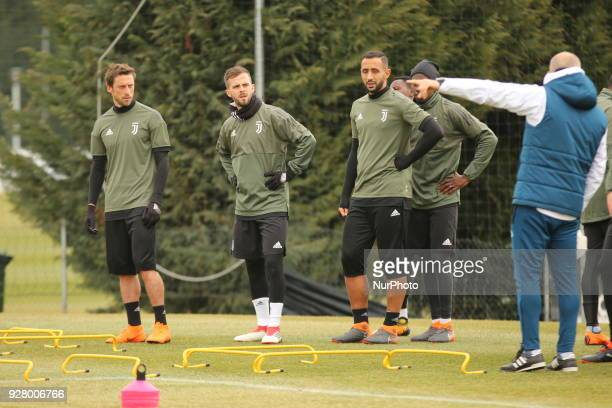 Claudio Marchisio Miralem Pjanic and Mehdi Benatia during the training on the eve of the second leg of the Round 16 of the UEFA Champions League...