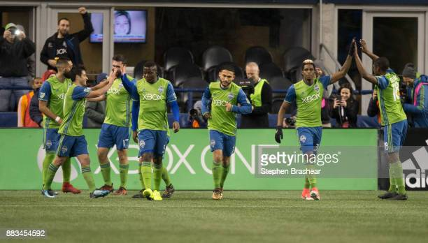 From left Clint Dempsey of the Seattle SoundersNicolas Lodeiro of the Seattle Sounders Will Bruin of the Seattle Sounders Nouhou Tolo of the Seattle...