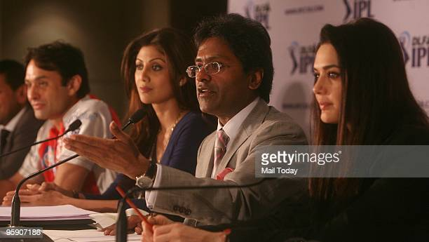 From left Coowner of 'Kings XI Punjab' Ness Wadia coowner of 'Rajasthan Royals' Shilpa Shetty Commissioner of the Indian Premier League Lalit Modi...