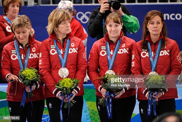 COLUMBIA From left Cori Bartel Carolyn Darbyshire Susan O'Connor and Cheryl Bernard Canada loses to Sweden in Gold medal match in Women's Curling...