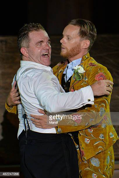 From left Cornelius Obonya and Patrick Gueldenberg are seen during the photo rehearsal of 'Jedermann' on the Domplatz ahead of Salzburg Festival 2014...