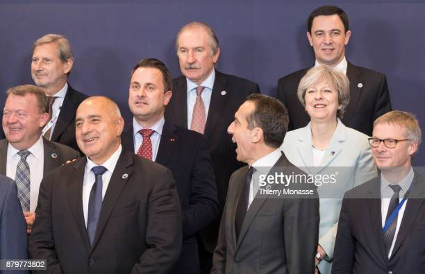 From Left Danish Prime Minister Lars Lokke Rasmussen EU European Neighbourhood Policy Enlargement Negotiations Commissioner Johannes Hahn Bulgarian...