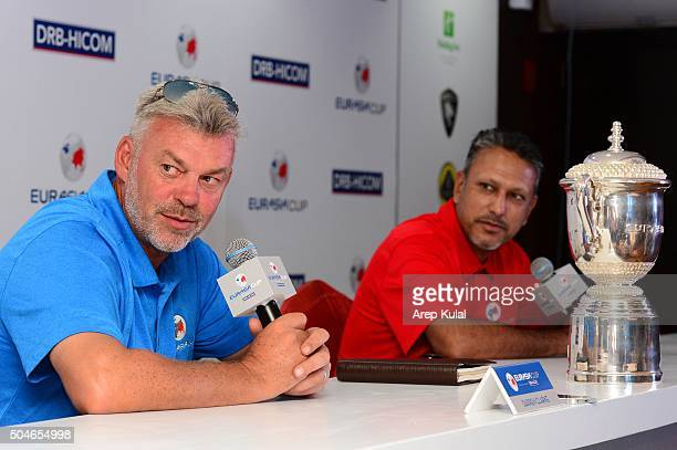 From left Darren Clarke Team Europe Captain and Jeev Milkha Singh Team Asia captain pictured during the press conference ahead of the EurAsia Cup...